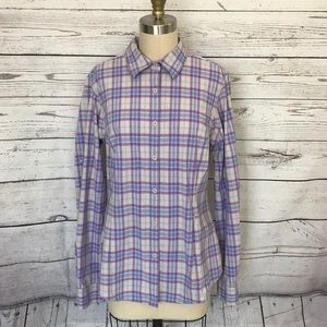 DULUTH TRADING CO Purple Plaid LS Button Down Top
